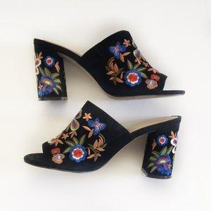 ALDO Black Embroidered Open Toe Heels